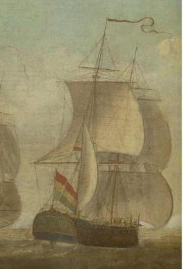 Op het schilderij van Hoogerheyden vaart d'Eenigheid vermoedelijk uiterst rechts