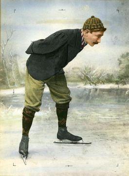 Jaap Eden op de schaats - ingekleurde zwart-wit foto (Nationaal Archief)