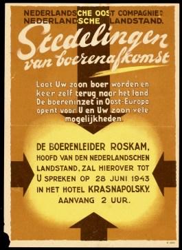 Pamflet voor de werving van landbouwers voor Oost-Europa (1943, Geheugen van Nederland)