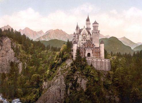 Photochrom van Slot Neuschwanstein, 1890-1905 (LOC)