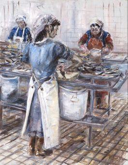 Turks Scheveningse vrouwen aan het werk, Anneloes Groot, collectie Haags Historisch Museum