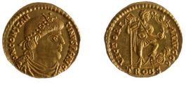 Gouden munt van keizer Constantijn III (408-411) uit de schat van Echt. Foto Restaura