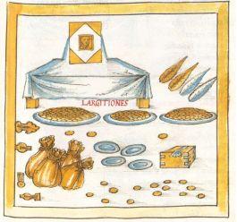 Embleem van keizerlijke functionarissen belast met het doen van schenkingen namens de keizer, afkomstig uit de Notitia Dignitatum, geschreven c. 400 na Chr. De voorstelling toont een scene waarin zakken gouden munten en grote zilveren schalen met munten staan uitgestald voor een tafel met daarop een beeltenis van de keizer.