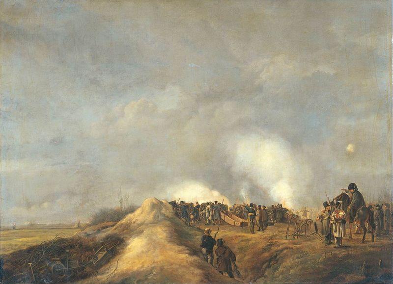 Het beschieten van Naarden vanaf een schans bij Kommerrust op 4 april 1814. Olieverf op doek (60 cm – 80 cm) door Pieter Gerardus van Os uit 1814. (Rijksmuseum)