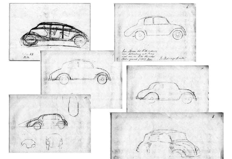 Schetsen van Adolf Hitler voor hoe de Volkswagen eruit moest komen te zien, gemaakt in december 1933 en tijdens de bespreking met Ferdinand Porsche en Jakob Werlin in Hotel Kaiserhof in maart 1934.
