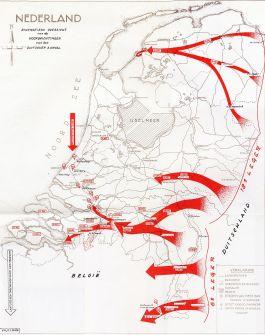 'Schematisch overzicht van de hoofdrichtingen van den Duitschen aanval'