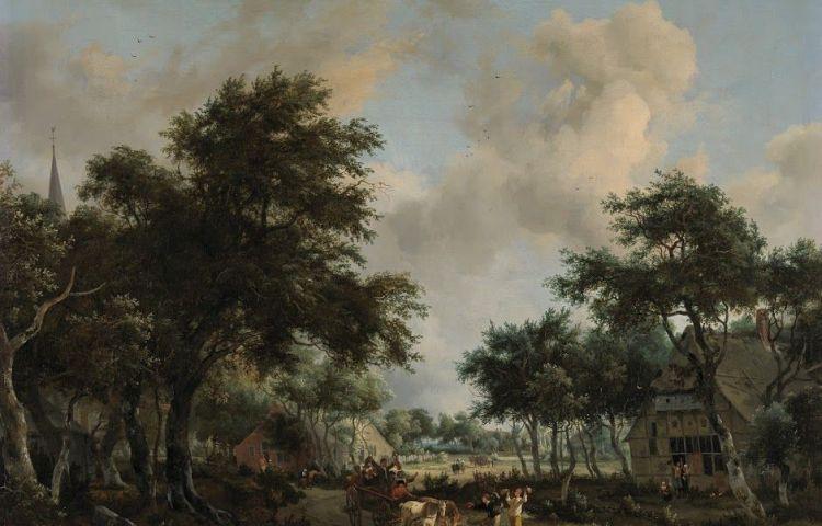 Boslandschap met een vrolijk gezelschap in een wagen - Meindert Hobbema