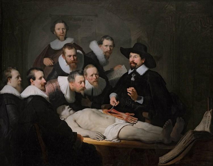 De anatomische les van Dr. Nicolaas Tulp - Rembrandt van Rijn, 1652 (Mauritshuis)