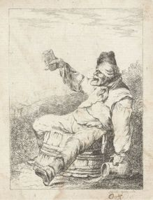 Dronken man zittend op een vat, Sophia Wilhelmina Evans, 1782 (Rijksmuseum)
