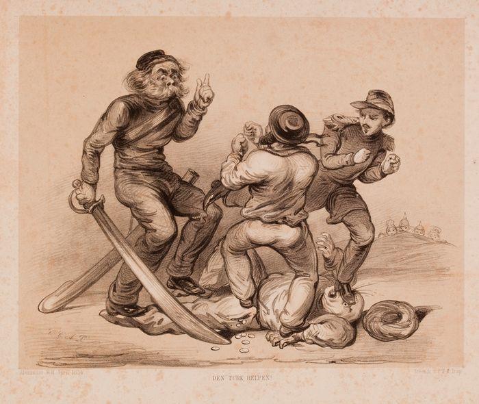 Spotprent uit 1854 over de Krimoorlog, waarin Europese grootmachten en Turkije vochten tegen Rusland