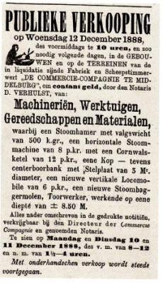 Advertentie voor de publieke verkoop in 1888, waarop de eigendommen van de MCC tegen contante betaling worden aangeboden.