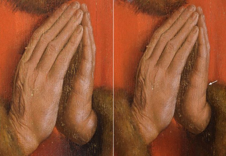 Detail van de handen van schenker Joos Vijd. Links: voor verwijdering van de later toegevoegde lichtaccenten op de handen. Rechts: na verwijdering van de latere lichtaccenten onderaan de linkerhand van de schenker (KIK-IRPA)