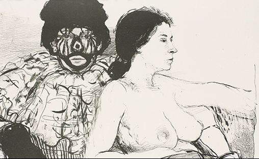 Aat Veldhoen, Robert Jasper Grootveld en Netty Dagevos, rotaprent, 1964 (Rijksmuseum, detail)