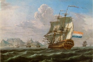 Een VOC-schip onderweg tussen Azië en het vaderland.