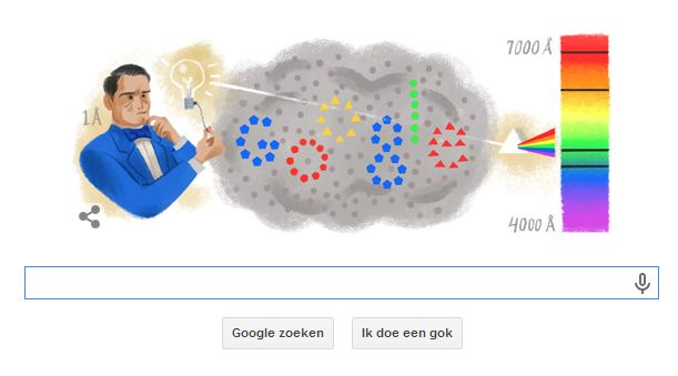 Google doodle ter ere van Anders Jonas Ångström