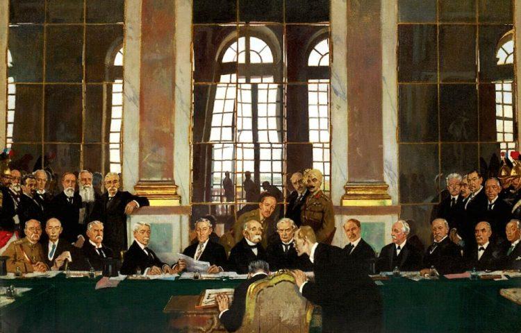Ondertekening van de Vrede van Versailles 1919 (William Orpen, detail)