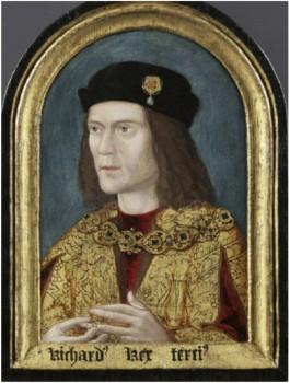 Schilderij van Richard III, vervaardigd ca. 1510. Society of Antiquaries of London, Burlington House, inv. LDSAL 321;Scharf XX. Zie http://www.bbc.co.uk/arts/yourpaintings/paintings/richard-iii-14521485-148268.