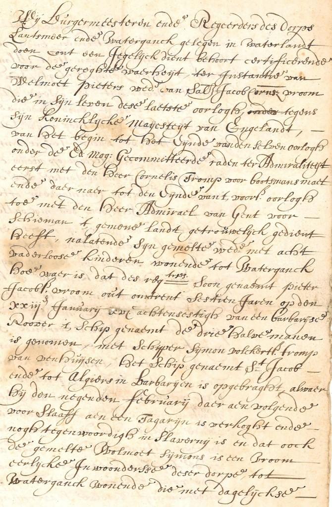 Verzoekschrift voor Pieter Vroom in 'Barbaarse slavernij'