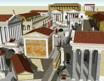 3d weergave van het Forum Romanum