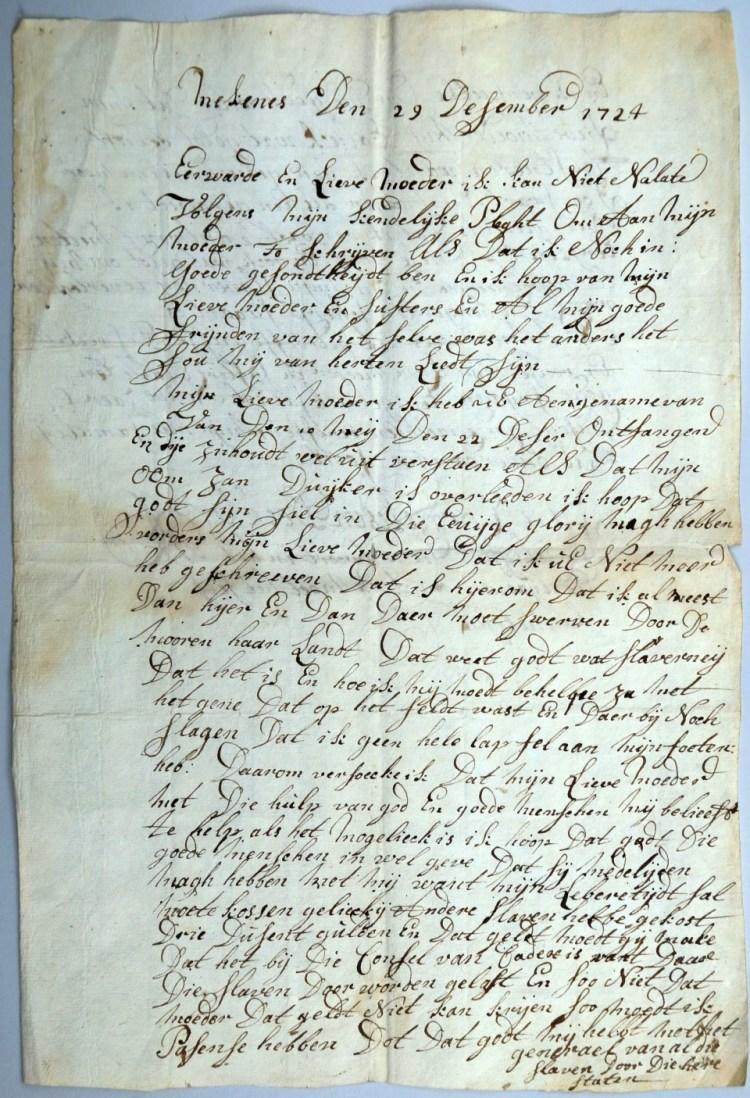 Brief van een christenslaaf (Westfries Archief)
