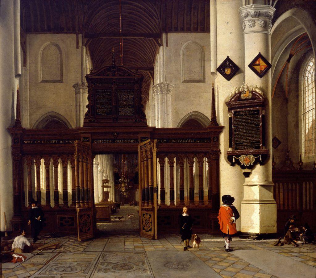 Gezicht in de Nieuwe Kerk met memorietafel van Adriaen Teding van Berkhout (Prinsenhof)