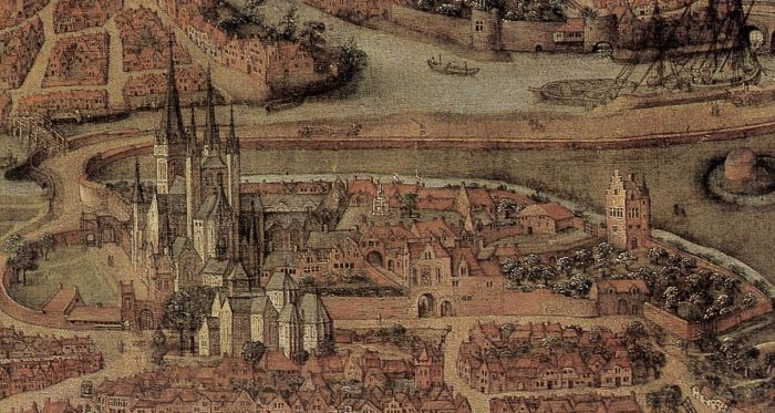 De Sint-Baafsabdij en de nu volledig verdwenen kerk in volle glorie, uitsnede uit kaart van Gent, 1534