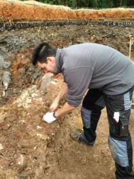 Steven Jongma in zijn werkput op de Imperial Kiln Site (Prinsenhof)