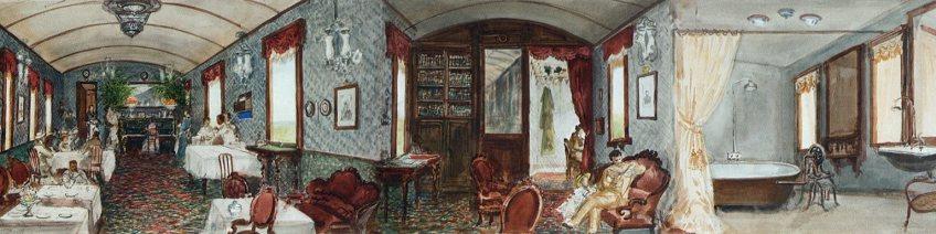 Treininterieur met bibliotheek en badkamer. Detail panorama Pavel Piasetsky (Hermitage)