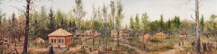 Novonikolajevsk (Nieuw-Nicolaas), nu Novosibirsk. Detail panorama Pavel Piasetsky (Hermitage)