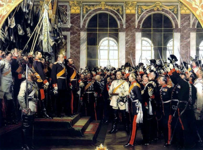 Proclamatie van keizer Wilhelm I (Oprichting van het Duitse Rijk) op 18 januari 1871 met Bismarck als centraal figuur in een wit uniform in de Spiegelzaal van Versailles. - Anton von Werner