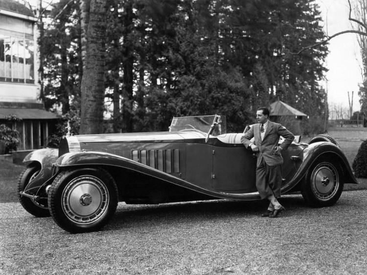 Jean Bugatti met Bugatti Royale Type 41, ca. 1930 (archief Bugatti)
