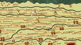Laurium vermeld als Lauri op de Peutinger kaart linksboven in de afbeelding tussen Fletione (vermoedelijk Vleuten) en Nigropullo (Zwammerdam).