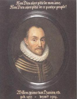Willem van Oranje met zijn 'laatste woorden', die hij vermoedelijk niet gesproken heeft.