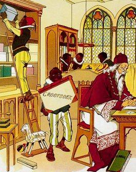 Deze illustratie is uit 1907. Men zegt weleens dat Sinterklaas heel lang maar één knecht had, maar hier is het bewijs dat hij in 1907 al meerdere Pieten had. Ze zien er niet uit zoals de Zwarte Pieten van nu eruitzien: ze hebben een gestreepte lange broek, open sandalen, een gestreept hemd met daaroverheen een tuniek. Ze hebben grote, witte kragen en ze dragen een fez. Een van hen heeft rode lippen, maar ze hebben geen van allen gouden oorringen . St. Nikolaas en zijn knecht, Jan Schenkman, J. Vlieger, Amsterdam (1907)