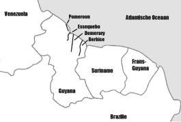 De voormalige Nederlandse kolonies in Guyana. Het Congres van Wenen in 1814, dat van Nederland een met België verenigd Koninkrijk maakte, besloot ook dat de kolonies moesten worden afgestaan aan Engeland. Voor de herkenning zijn de hedendaagse grenzen weergegeven. Kaart in  'Essequebo en Demerary, 1741-1781: beginfase van de Britse overname' (Universiteit Leiden).