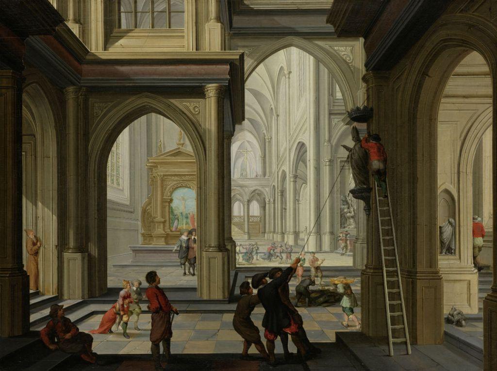 Beeldenstorm in een kerk, 1630, Dirck van Delen