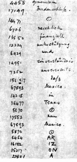 Het bekende Zimmermann-telegram, ontcijferd door Kamer 40