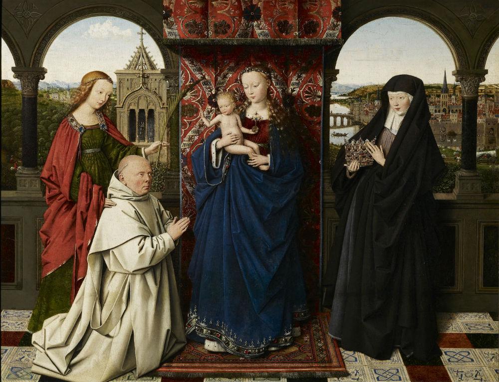 Maria en kind, met de heilige Barbara, heilige Elizabeth van Hongarije en Jan Vos, ca. 1441-1443 - Jan van Eyck en atelier (The Frick Collection, New York; Foto: Michael Bodycomb)