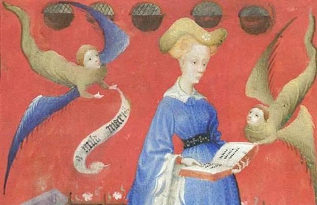 Op de beroemdste afbeelding uit het gebedenboek staat Hertogin Maria van Gelre afgebeeld als een vrome vrouw met klasse.