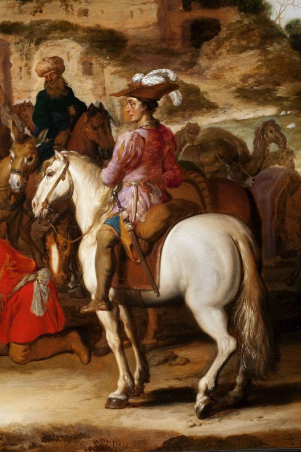 De verkoop van Jozef - Lambert Jacobsz (detail)