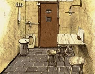 Tekening van een cel in het Oranjehotel in Scheveningen door Henri Pieck (oranjehotel.nl)