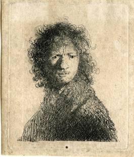 Zelfportret, fronsend - Rembrandt van Rijn