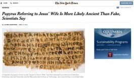 Bericht in de New York Times over het fragment
