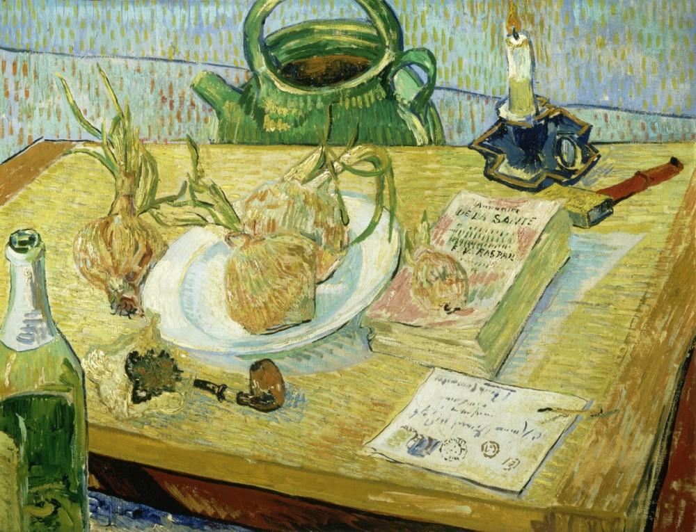 Vincent van Gogh, Stilleven rond een bord met uien, begin januari 1889