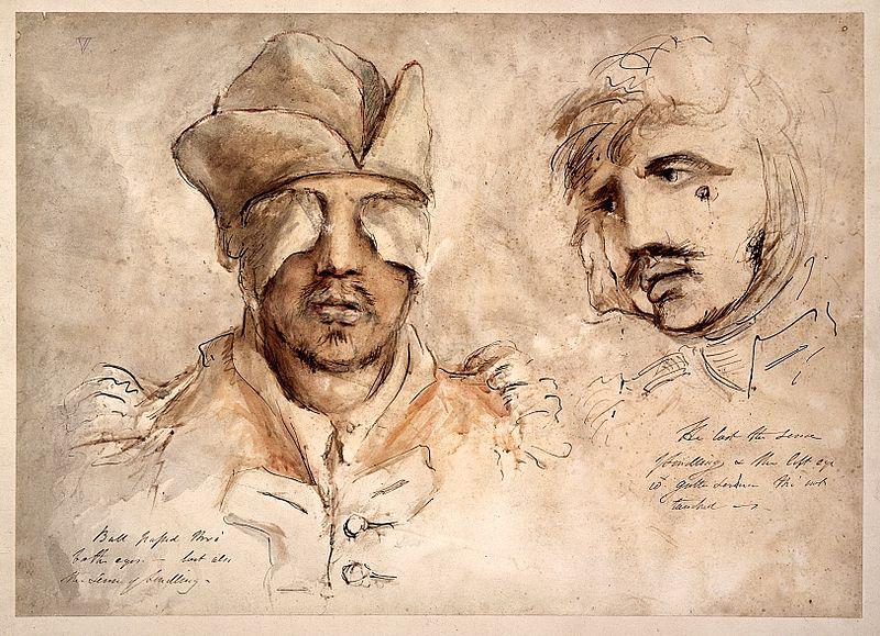 Twee tekeningen van soldaten met oogwonden - Charles Bell