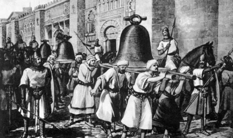 Al-Mansoer laat christenen de bellen van Compostela naar Córdoba brengen, na een van zijn vele veroveringen op christelijk gebied. (nobility.org)
