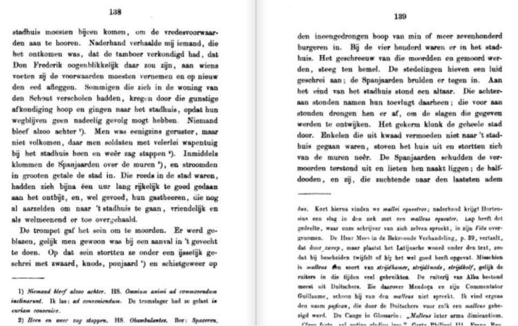 De beschrijving van de slachting in de vertaling uit 1866 van het manuscript van Hortensius.
