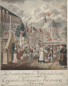 Het omhakken van de Vrijheidsboom in Alkmaar door Engelse troepen op 3 oktober 1799 (Tekening A. Stroo, 1804)