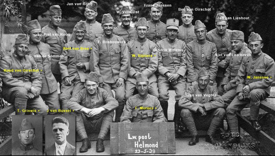 Een groep luchtwachters (vrijwilligers die vliegbewegingen in de gaten hielden) uit Helmond kwam ook op de Pavon terecht. Zeven van hen (namen in geel) werden nooit meer teruggevonden.