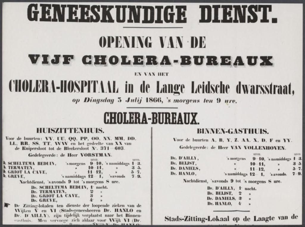 Aankondiging van de opening van een choleraziekenhuis in Amsterdam, juni 1866. Bron: Nationaal Archief, Den Haag